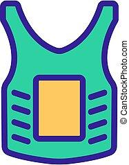 contour, paintball, vecteur, icône, illustration, armure, corps