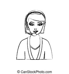 contour people woman technological services icon