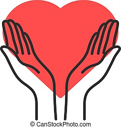 contour philanthropy hands with heart. flat linear style ...