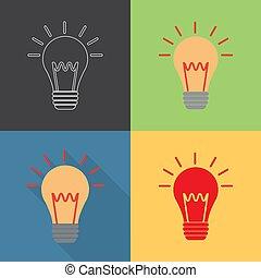 contour, plat, ampoule, style, lumière, ensemble, icône
