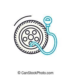 contour, pneu, illustration, signe, symbole, pression, coup, vecteur, mince, icon., ligne, concept., linéaire