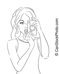 Contour pop art illustration of the girl with an old camera. Vector element for your creativity