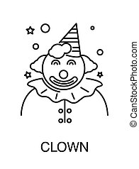 contour, puéril, cirque, isolé, clown, vacances, icône