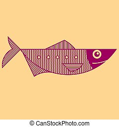contour, revêtir art, style, fish, illustration