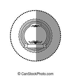 contour round emblem with ribbon icon