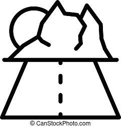contour, route, montagnes, voyage, style, icône