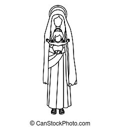 contour saint virgin mary with baby jesus