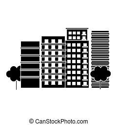 contour, scène ville, et, bâtiments, à, arbres, image