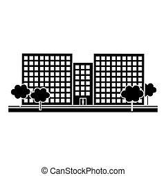 contour, scène ville, et, bâtiments, à, arbres, ligne, autocollant