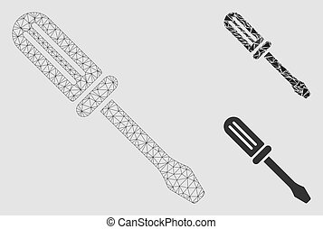 Contour Screwdriver Vector Mesh Carcass Model and Triangle Mosaic Icon
