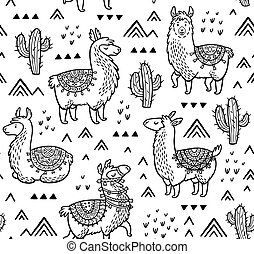Contour seamless pattern with alpaca and cactuses. Coloring...