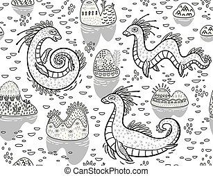 Contour seamless pattern with Loch Ness Monsters and decorative hills in the lake. Ideal for coloring book