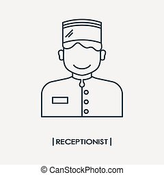 contour, secrétaire, icône