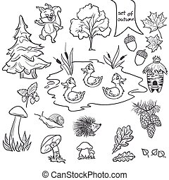 Contour set on a white background on a theme of autumn animals, trees, mushrooms, leaves