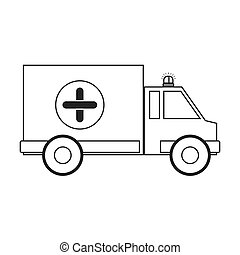 contour silhouette ambulance with cross