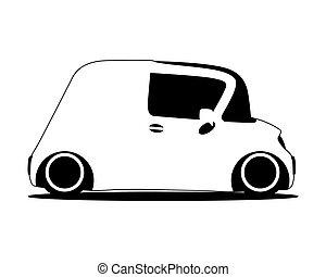 contour, silhouette, mini, avenir, voiture