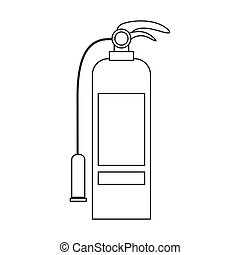 contour silhouette with fire extinguisher