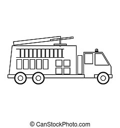contour silhouette with fire truck