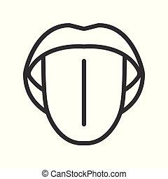 contour, simple, bouche, icône, ouvert, langue