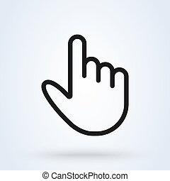 contour, simple, moderne, vecteur, doigt, icône, main, ...