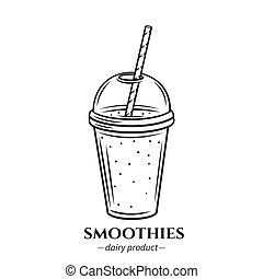contour, smoothies, icône
