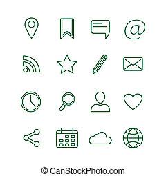 Contour social media icons set