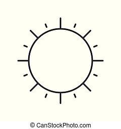 contour, soleil, vecteur, fond, blanc, icône
