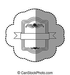 contour square emblem with ribbon icon