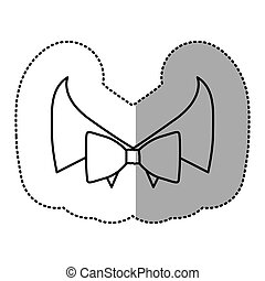 contour sticker bow tie with shirt icon