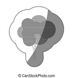 contour sticker set of abstract tree icon
