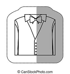contour sticker shirt with bow tie and waistcoat