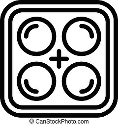 contour, style, icône, glace, plateau, silicone