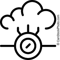 contour, style, nuage, icône, technologies