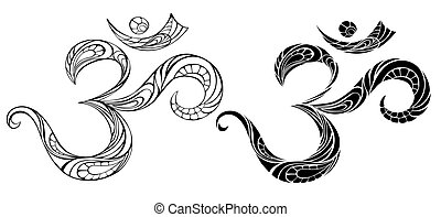 Contour symbol Om - An artistically drawn, contour,...