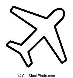 Ic ne style avion contour toile contour illustration dessins rechercher clipart - Dessin d avion facile ...