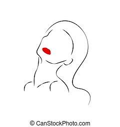 contour, tête, beau, womans