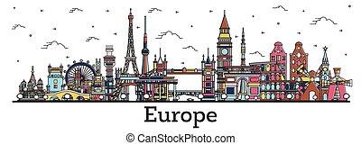 contour, tourisme, célèbre, voyage, europe., bâtiments., couleur, concept, repères, business