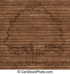 contour tree on old wooden planks background - contour tree...