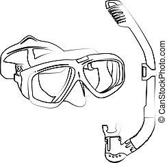 contour, vecteur, illustration, masque, plongée