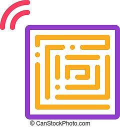 contour, vecteur, jetable, anti-theft, icône, autocollants, illustration