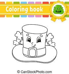 contour, vecteur, kids., lutin, silhouette., mignon, patrick's, illustration., blanc, livre, noir, rue., gai, day., hat., dessin animé, isolé, style., character., coloration, arrière-plan.