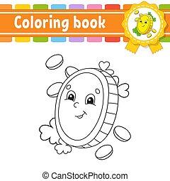 contour, vecteur, kids., silhouette., mignon, patrick's, illustration., blanc, livre, noir, coin., gai, rue., day., dessin animé, isolé, style., character., coloration, arrière-plan., or