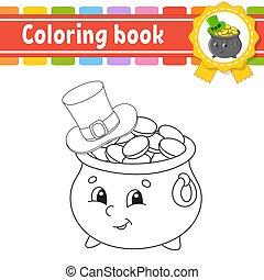 contour, vecteur, kids., silhouette., mignon, patrick's, illustration., blanc, livre, noir, pot, rue., gai, day., hat., dessin animé, isolé, style., character., coloration, arrière-plan., or