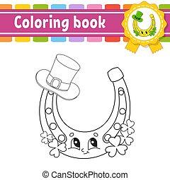 contour, vecteur, kids., silhouette., mignon, patrick's, illustration., blanc, livre, noir, rue., gai, day., dessin animé, isolé, style., character., coloration, arrière-plan.