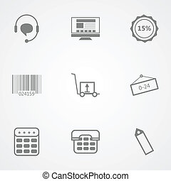 Contour vector icons for online store - Set of black vector...