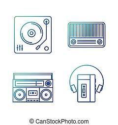 contour, vendange, illustration, joueur, vecteur, musique, retro, icône