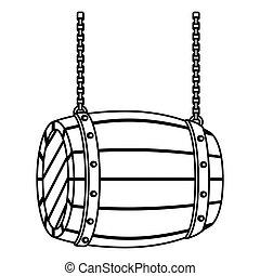 contour wooden barrel icon image design