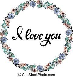 Contour wreath with cute doodle flowers.
