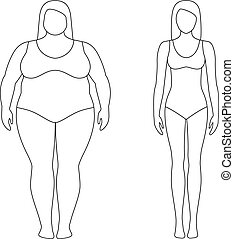 Contoured illustration of a woman before and after weight loss. Female body. Successful diet and sport concept. Slim and fat girls.