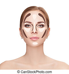 Contouring. Make up woman face on white background....